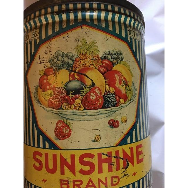 Metal Vintage Sunshine Brand Fruit Tin For Sale - Image 7 of 11