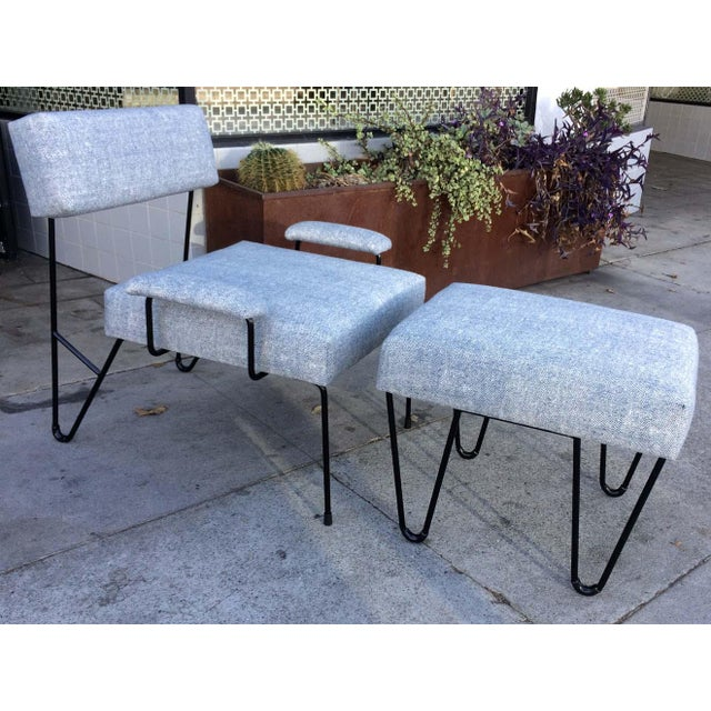 Contemporary Alex Outdoor Lounge Chair & Ottoman Set , Platium Upholstered Sunbrella with Black Powder Coated Stainless Steel Base For Sale - Image 3 of 3