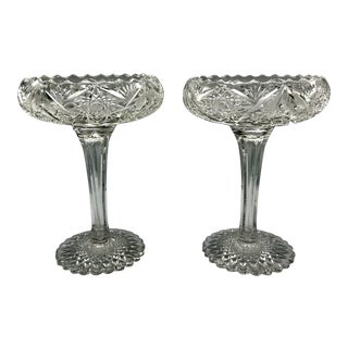 19th Century American Brilliant Period Tall Cut Crystal Compote Pedestal Bowls - a Pair For Sale