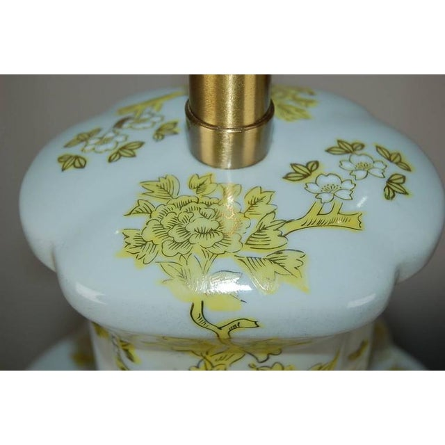 1960s Marbro Italian Porcelain Table Lamps Yellow For Sale - Image 5 of 10