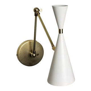 Modern Blueprint Lighting 'Monolith' Italian-Style Brass + White Enamel Reading Lamp For Sale