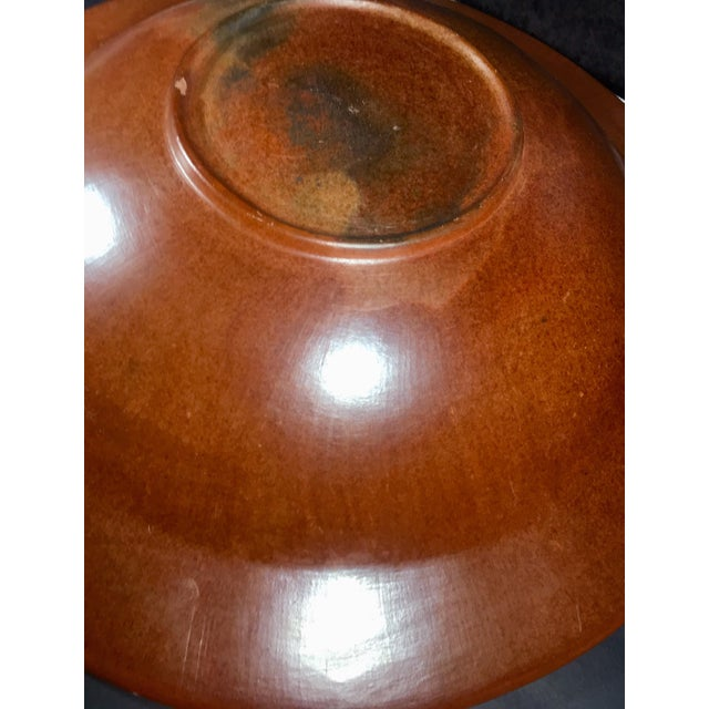 1970s Vintage Oversized Artisan Hand Burnished Terracotta Bowl For Sale - Image 10 of 12