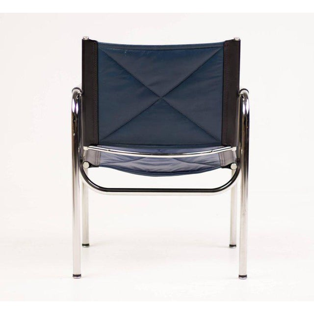 Silver Hans Eichenberger for Strassle Blue Leather Armchairs For Sale - Image 8 of 10