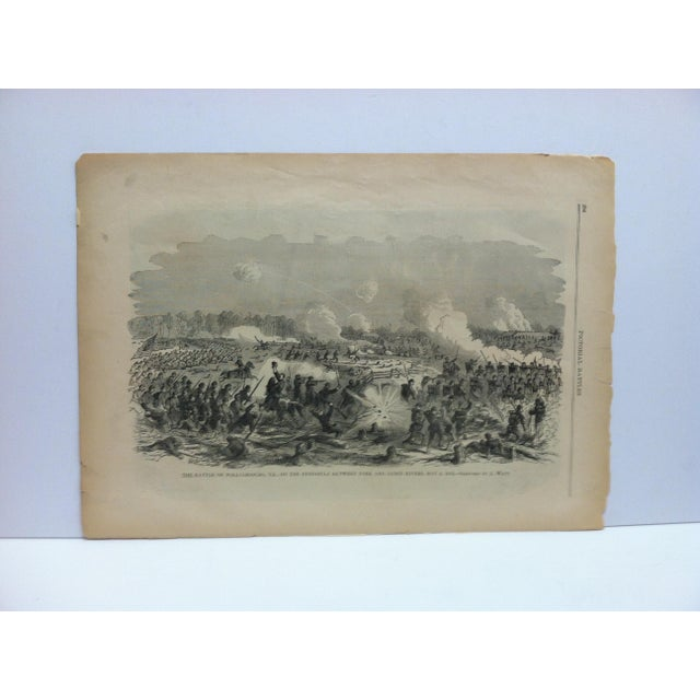 "1870s Antique ""The Battle of Williamsburg, Virginia - May 6, 1862"" Pictorial Battles of the Civil War Print For Sale - Image 4 of 4"