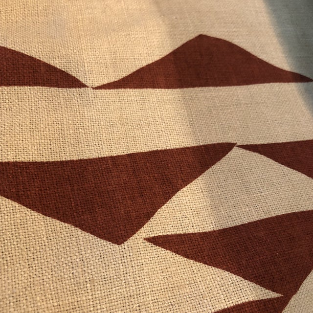 Silk Maroon Print Fabric on Silk For Sale - Image 7 of 8