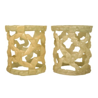 1980s Tony Duquette Style Resin Folded Ribbon End Tables - a Pair For Sale