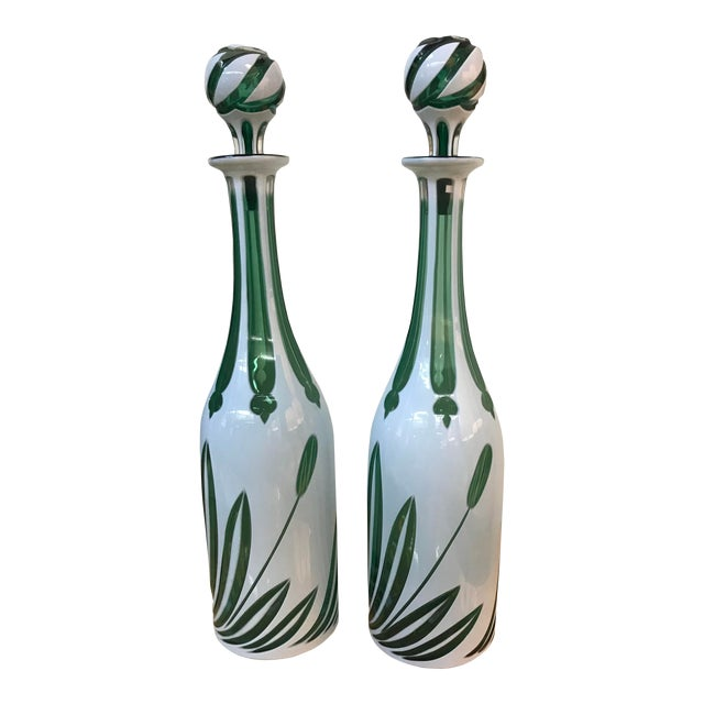 """Mid 20th Century English """"Cased"""" Glass Bottles With Stoppers - a Pair For Sale"""
