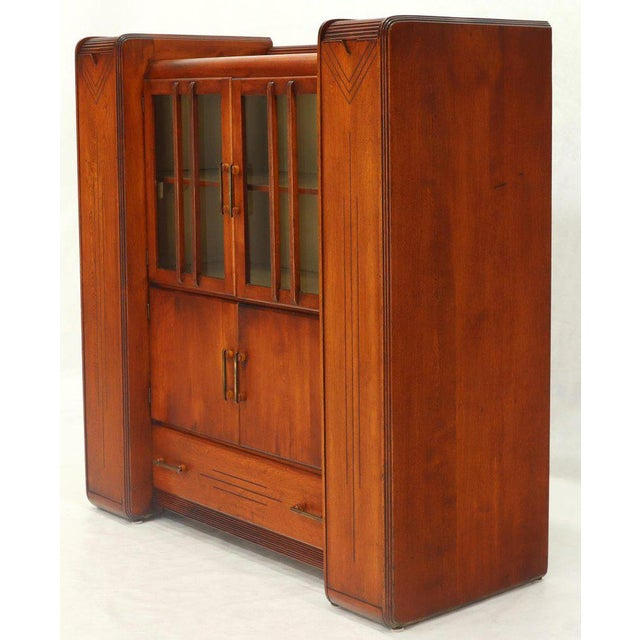Art Deco Waterfall Lift Top Compartments Bar Storage Sideboard Cabinet Bookcase For Sale - Image 11 of 11