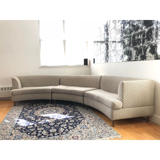Brown Curved Keller-Williams Vintage Mid Century Sectional Sofa - 3 Pieces For Sale - Image 8 of 9