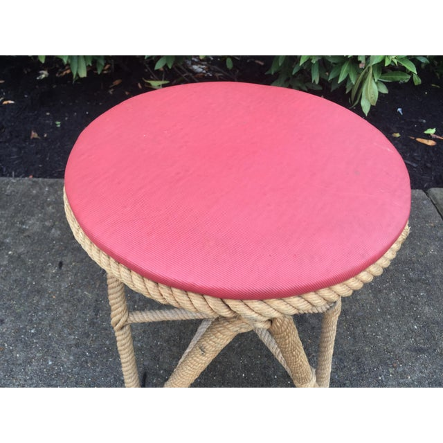 Vintage French stool, made of rope with iron frame, red seat