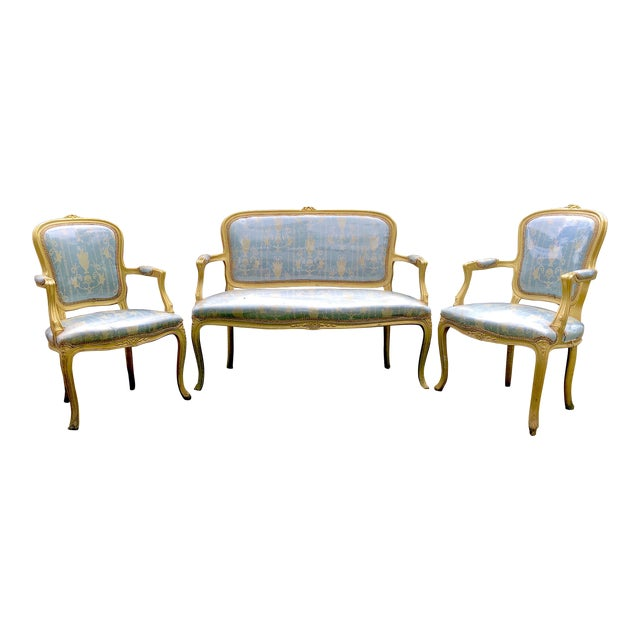 Gold Gilt Italian Louis XVI Settee & Chairs - Set of 5 - Image 4 of 8