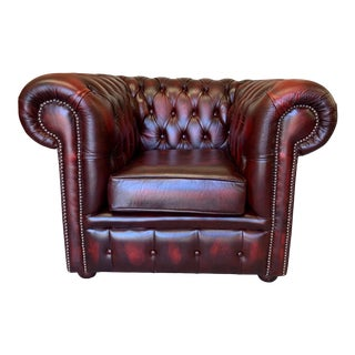 Vintage English Leather Chesterfield Club Chair, Oxblood For Sale