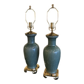 Vintage Hollywood Regency Pagoda Teal Green Crackle Glaze & Brass Table Lamps - a Pair For Sale