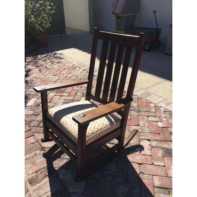 Wood 1930s Vintage Mission Style Rocking Chair For Sale - Image 7 of 10