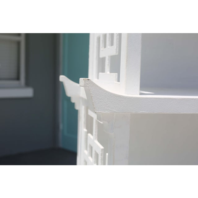 White Vintage Fretwork Pagoda Bookcase or Etagere For Sale - Image 8 of 12