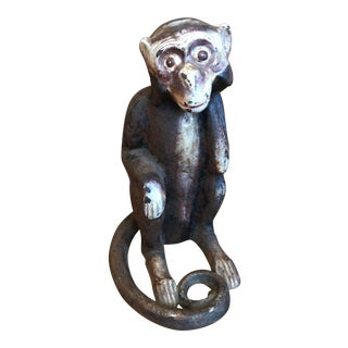 Cast Iron Figural Monkey Coin Bank For Sale