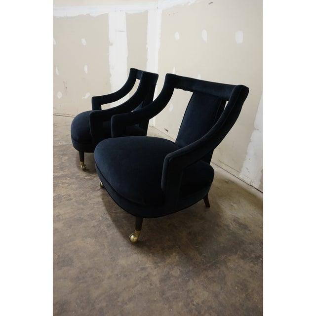 1950s Italian Gio Ponti Era Black Velvet Gondola Chairs - a Pair For Sale - Image 9 of 13