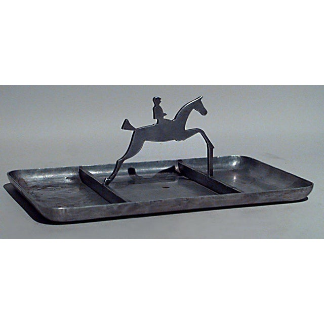 Art Deco American Art Deco Pewter Rectangular Three Section Ashtray For Sale - Image 3 of 3