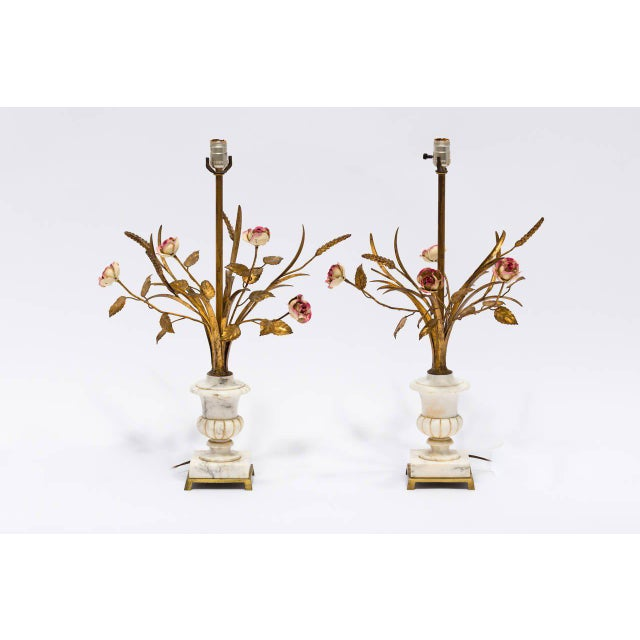 Originally bought in the 1950s, these Italian marble and gilded metal floral lamps are both unique and beautiful.