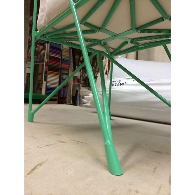 Raoul Guys Rare Set of Four Aqua Metal Chairs, Newly Recovered in Canvas Cloth For Sale - Image 4 of 8