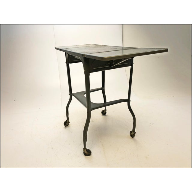 Vintage Industrial Gray Metal Typewriter Table with Double Drop Leaf For Sale - Image 6 of 13