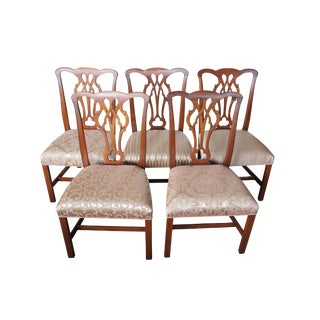 Vintage Mid Century Kittinger Chippendale Style Solid Mahogany Dining Chairs- Set of 5 For Sale