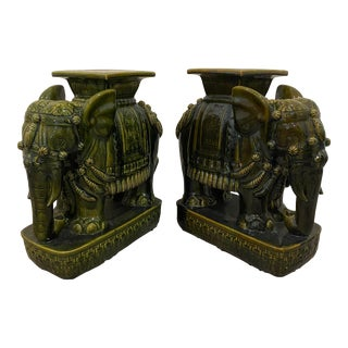 Green Elephant Garden Stools - a Pair For Sale
