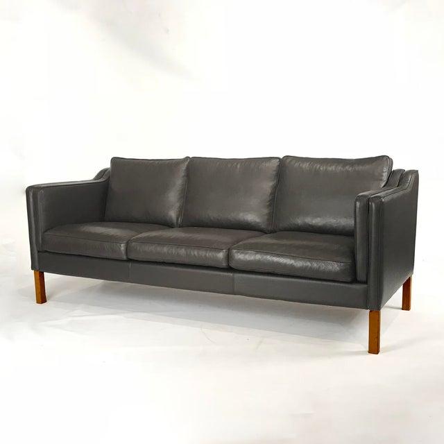 Vintage Danish Black Leather 3-Seat Sofa - Image 2 of 5