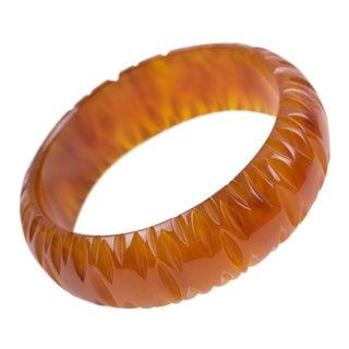 Bakelite Carved Bracelet Bangle Cinnamon Brown For Sale