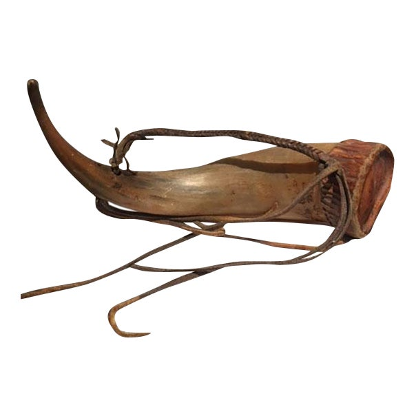 Gunpowder Horn With Braided Leather Strap and Fringe - Image 1 of 3