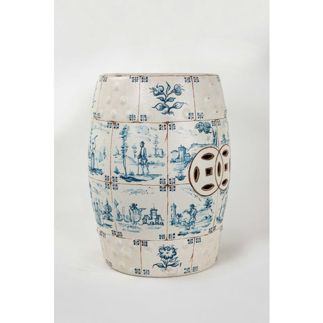 English Traditional 1970s Vintage Ceramic Garden Stool For Sale - Image 3 of 12