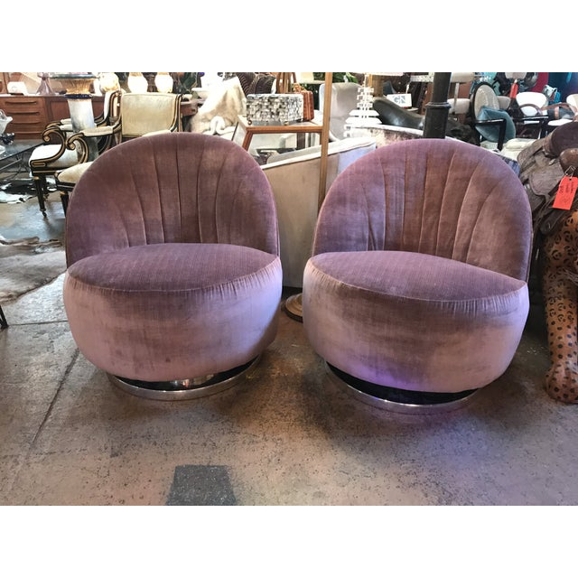 1960s Vintage Pair of Milo Baughman for Thayer Coggin Channel Back Swivel Lounge Chairs Newly Upholstered For Sale - Image 11 of 11