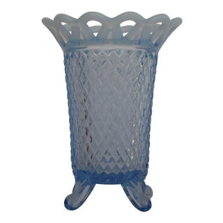 1940s Fenton Katy Blue Diamond Point Opalescent Lattice Rim Vase For Sale