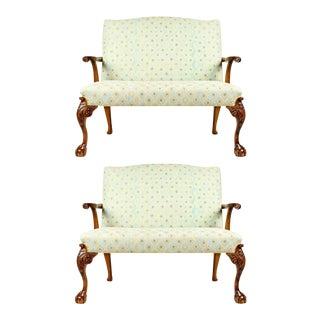 Antique Mahogany Framed Claw Foot / Camelback Settee - a Pair For Sale