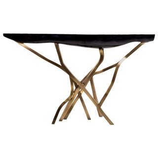 Acacia Console Table in Black Pen Shell and Bronze-Patina Brass by R&y Augousti For Sale
