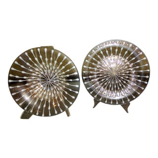 Large Mid-Century Modern Michael & Frances Higgins Fused Glass Charger & Bowl - a Pair For Sale