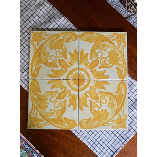 1960s Vintage Italian Terra-Cotta Hand Painted Glazed Tiles - Set of 4 For Sale - Image 5 of 8