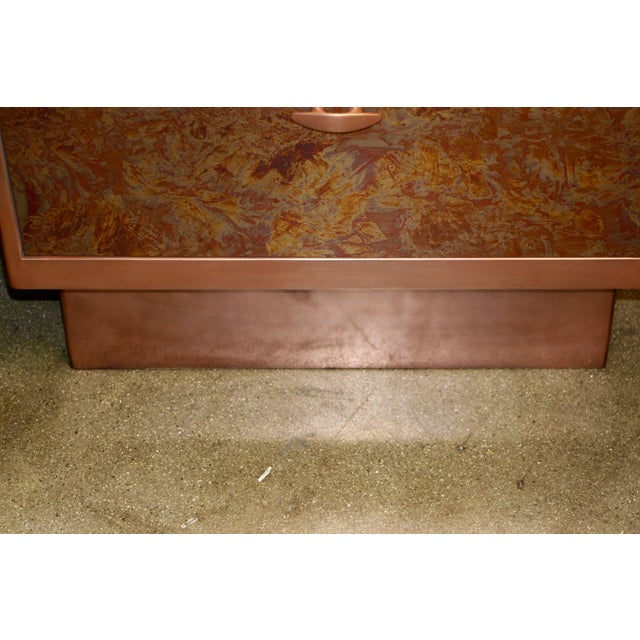 Mid 20th Century Patinated Copper Sheet Clad Nightstands or Chests - a Pair For Sale - Image 5 of 13