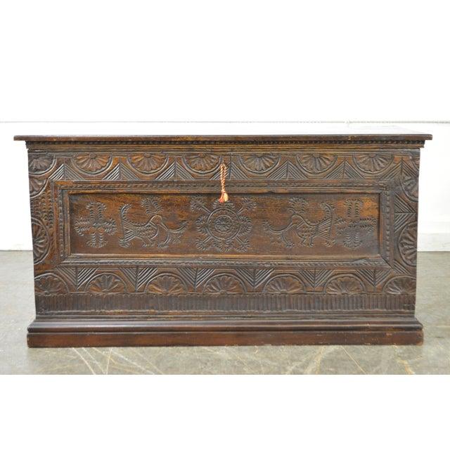 STORE ITEM #: 15325-fwmr Antique 18th Century Oak Lidded Chest Coffer AGE/COUNTRY OF ORIGIN – Unknown DETAILS/DESCRIPTION...