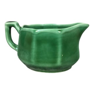Vintage Petalware Usa Green Ceramic Creamer For Sale