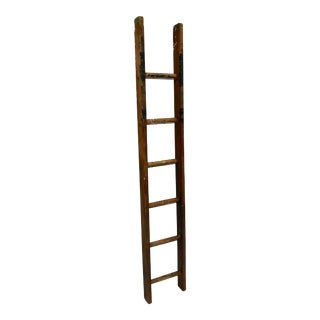 Antique French 5 1/2 Foot Wood Ladder For Sale