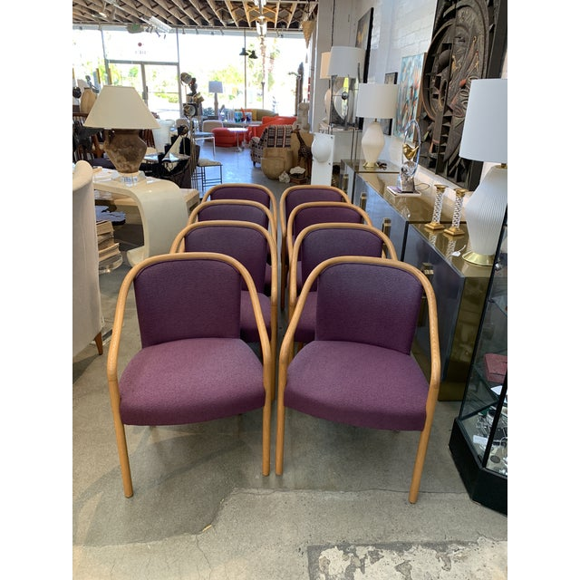 Mid-Century Modern Brickel Associates for Arthur Elrod Dining Chairs in Plum - Set of 8 For Sale - Image 3 of 12