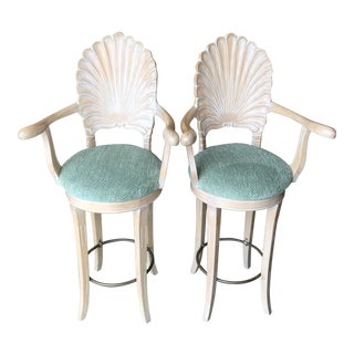Venetian Grotto Shell Back Barstools-Pair For Sale