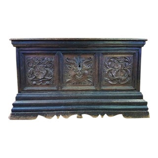 18 Century Antique Hand Carved Solid Oak European French Treasure Chest, Trunk For Sale