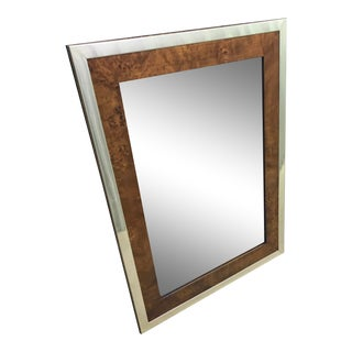 1970s Founders Furniture Solid Brass and Burlwood Mirror For Sale