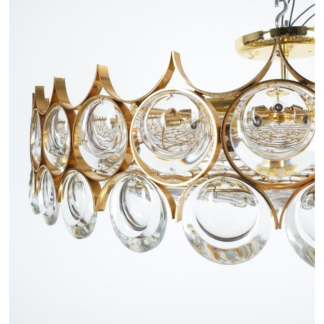 "Palwa XXL Refurbished Gold Plated Brass and Glass Semi Flush Mount. 27"" gold-plated ceiling lamp in minimalistic design..."