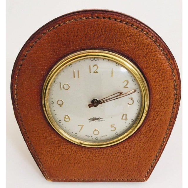 Leather and Brass French Longchamp Desk Clock Jacques Adnet Style For Sale - Image 9 of 13