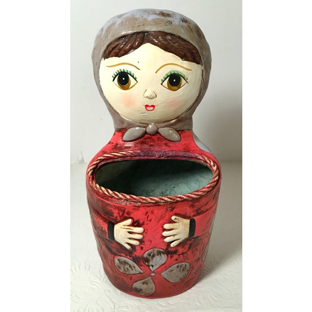 Paper Vintage Paper Mache Figural Lady Wall Pocket For Sale - Image 7 of 7