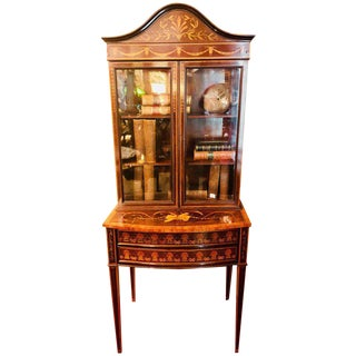 19th-Early 20th Century Edwardian Adams Inlaid Secretary Bookcase For Sale