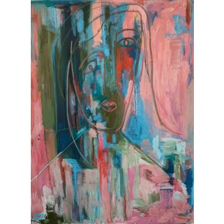 """""""Mirror Mirror"""" Contemporary Abstract Expressionist Portrait Oil Painting by Monica Shulman For Sale"""